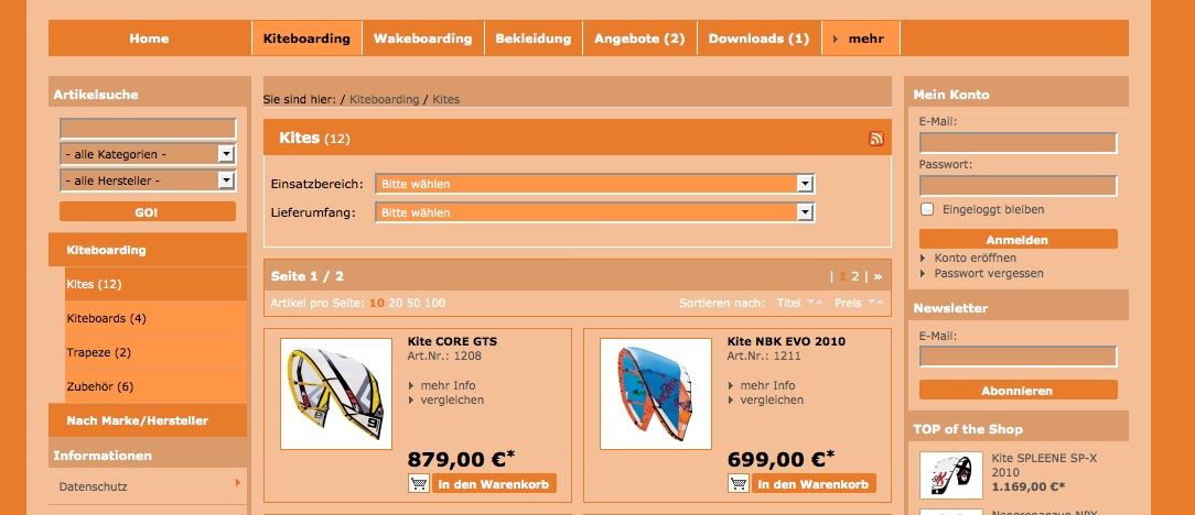 Oxid Basic Template Kategorie Seite neue Version