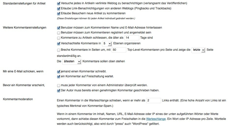 Wordpress-Einstellungen-Diskussion