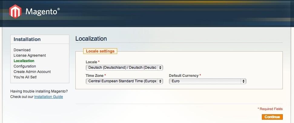 Magento Online Shop Installation: Schritt 2, Sprachauswahl