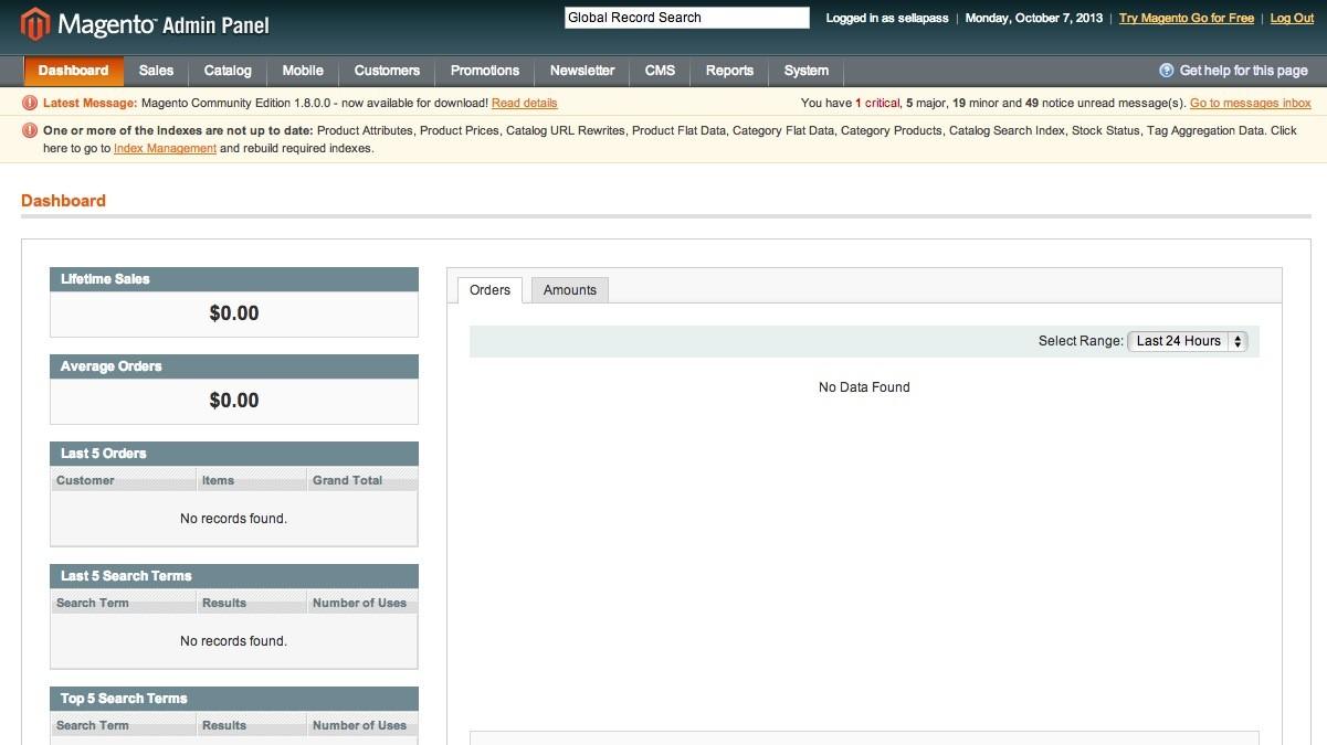 Magento Online Shop Installation - Blick aufs Backend