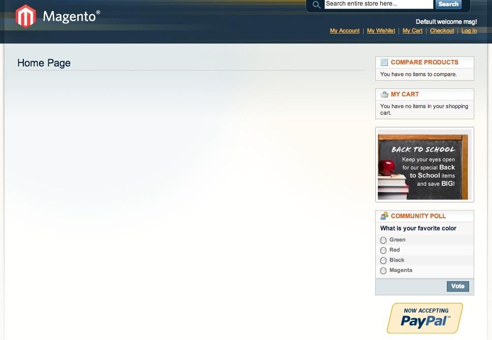 Magento Online Shop Installation - Blicks aufs Frontend