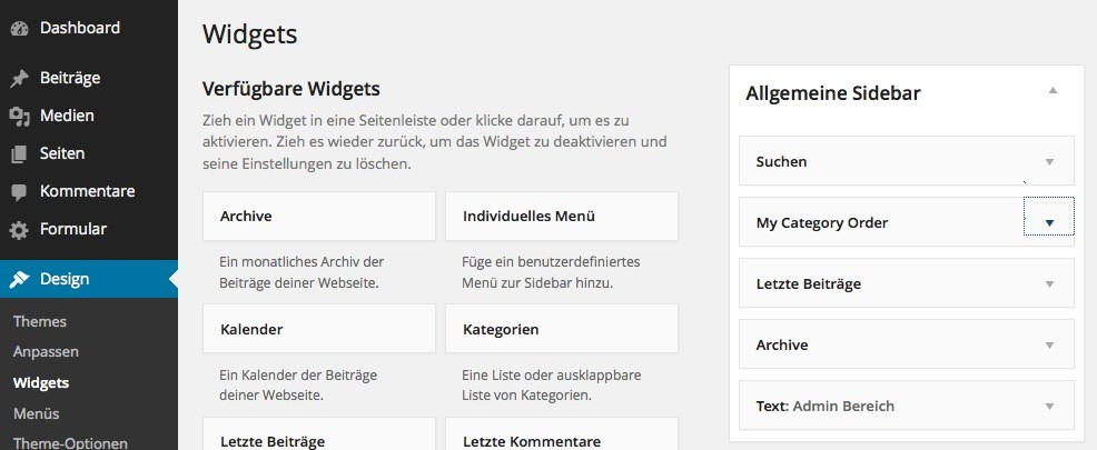 Wordpress Plugin - My Category Order
