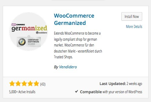 Wordpress Plugin - WooCommerce Germanized