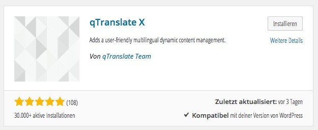 Wordpress Plugin - qTranslate-X