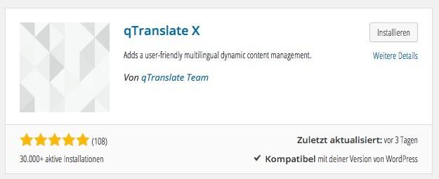 Wordpress Plugin - qTranslate-X