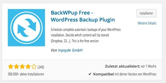 Wordpress Plugins - Backup