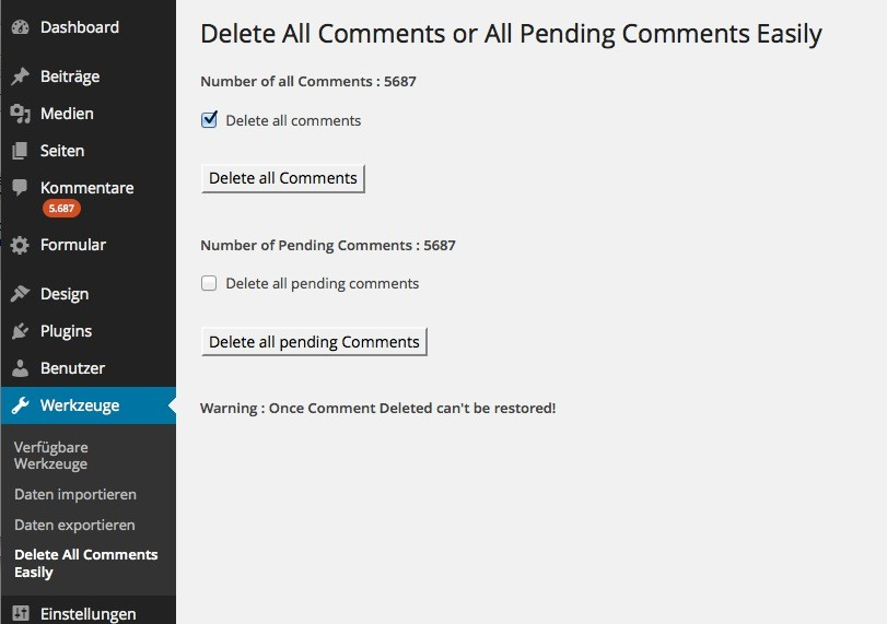 Wordpress Plugins - Delete All Comments Easily