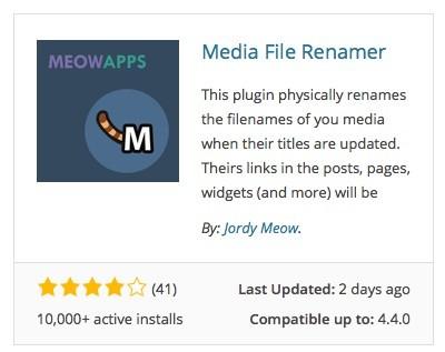 Wordpress Plugins - Media File Renamer