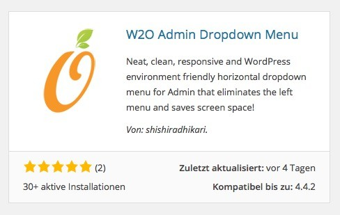 Wordpress Plugins - W2O Admin Dropdown Menu