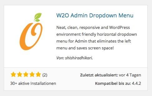 Wordpress Plugins - W2O Admin Dropdown Menu