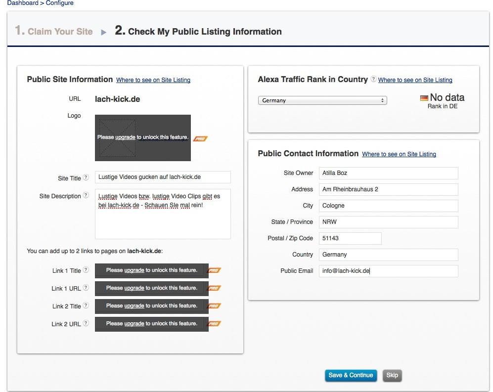 Wordpress SEO - Alexa Website infos
