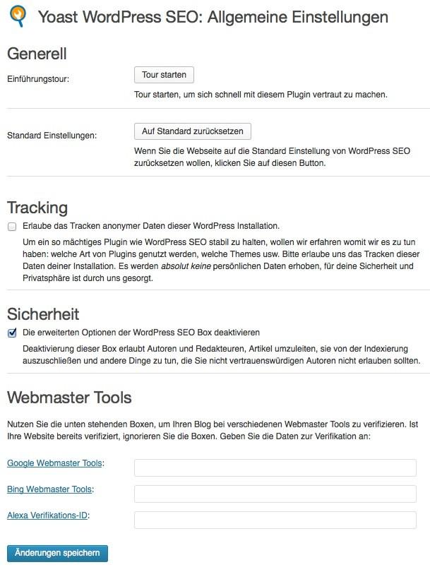 Wordpress SEO - Allgemeine Einstellungen