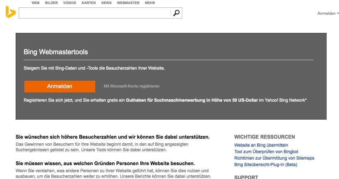 Wordpress SEO - Bing Anmeldung