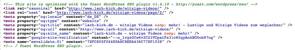 Wordpress SEO - Bing Quellcode