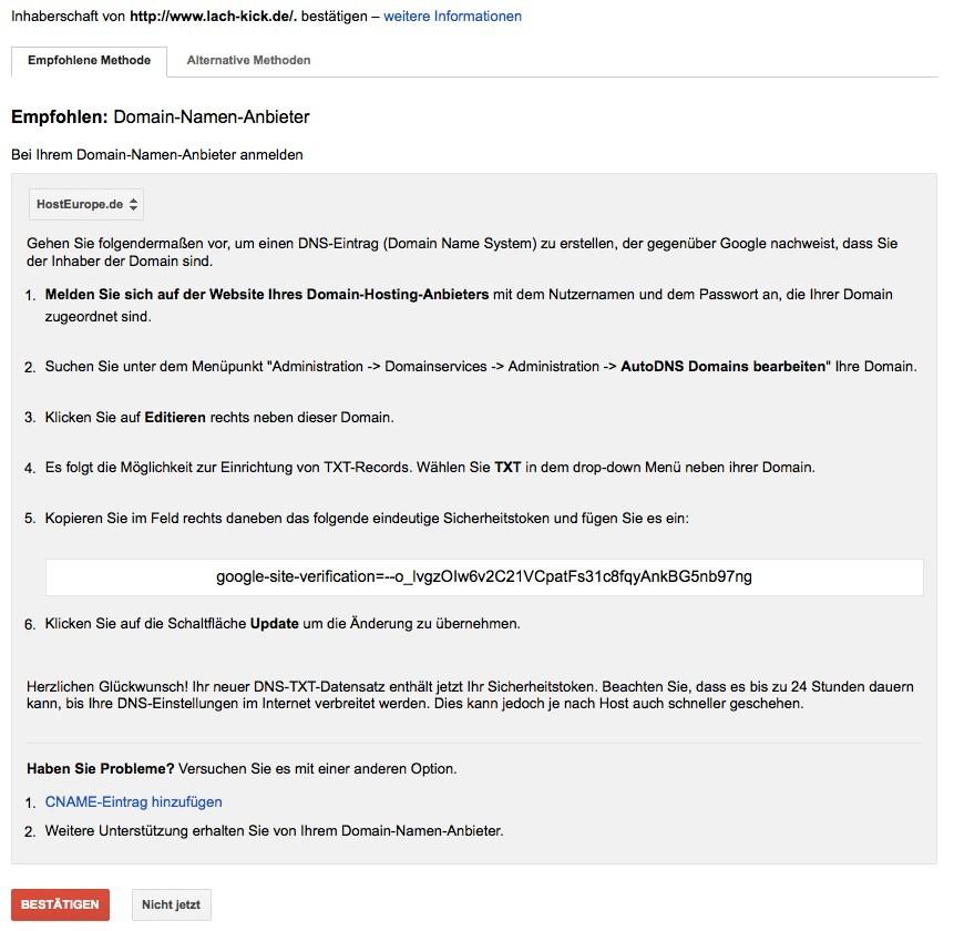 Wordpress SEO - Google Bestätigung