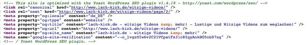 Wordpress SEO - Google Quellcode