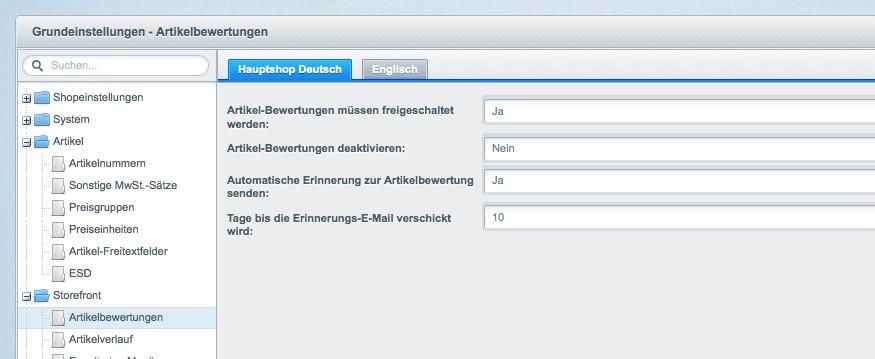Shopware Konfiguration - Artikel bewerten