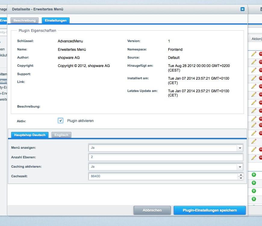 Shopware Konfiguration - Erweitertes Menü Einstellungen