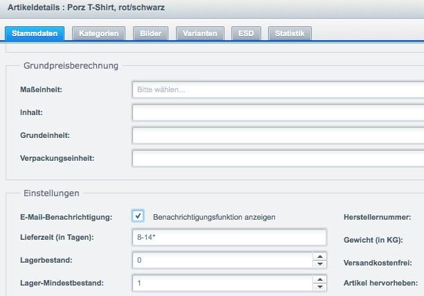 Shopware Konfiguration - Lieferzeiten - Lagerbestand 0