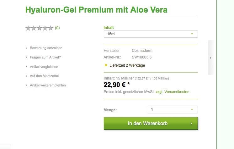 Shopware Konfiguration - Preiseinheiten 15ml Frontend