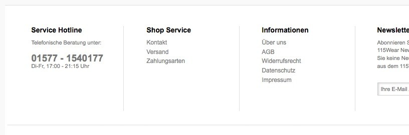 Shopware Konfiguration - Service Nummer