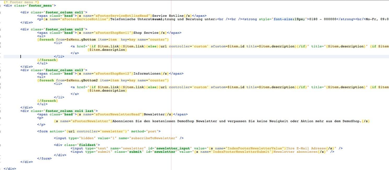 Shopware Konfiguration - menu_footer