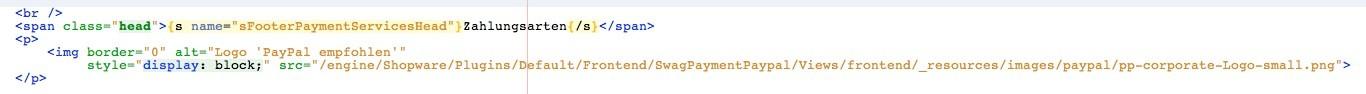 Shopware Paypal Logo im Footer