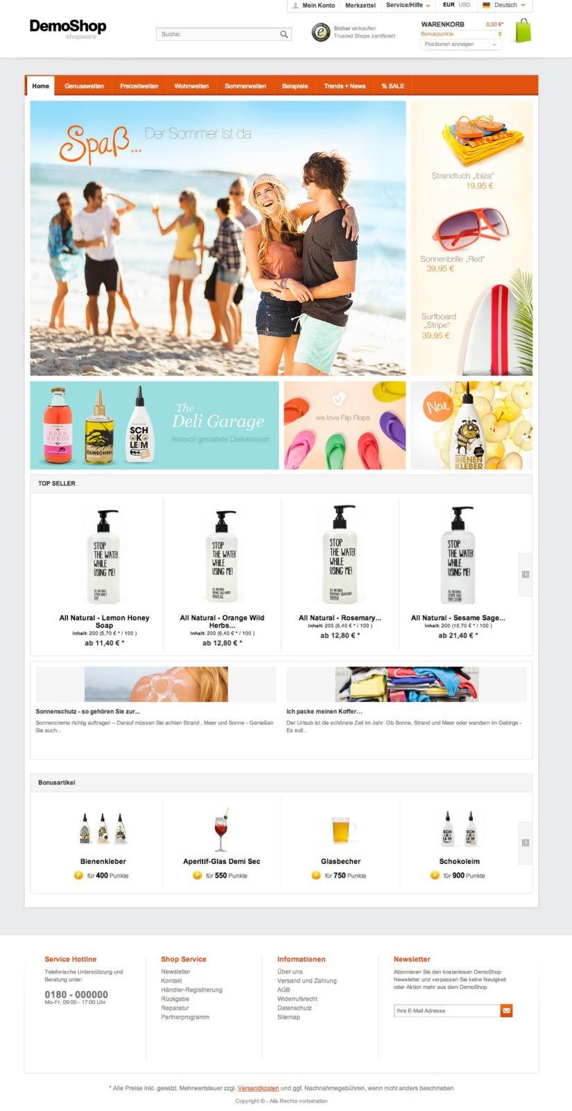 Shopware Startseite gestalten - Demoshop Startseite