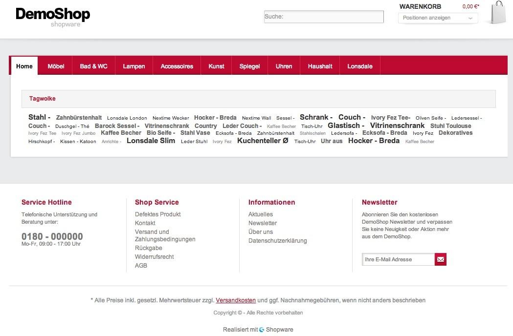 Shopware Startseite gestalten - leere Seite