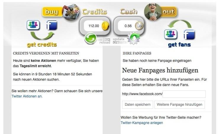 Facebook Likes tauschen - Fanslave.de Limit erreicht