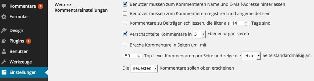 Wordpress Kommentarreihenfolge umkehren