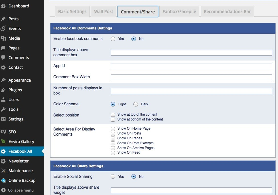 Wordpress Sharing Plugins - Facebook All - Share deaktivieren