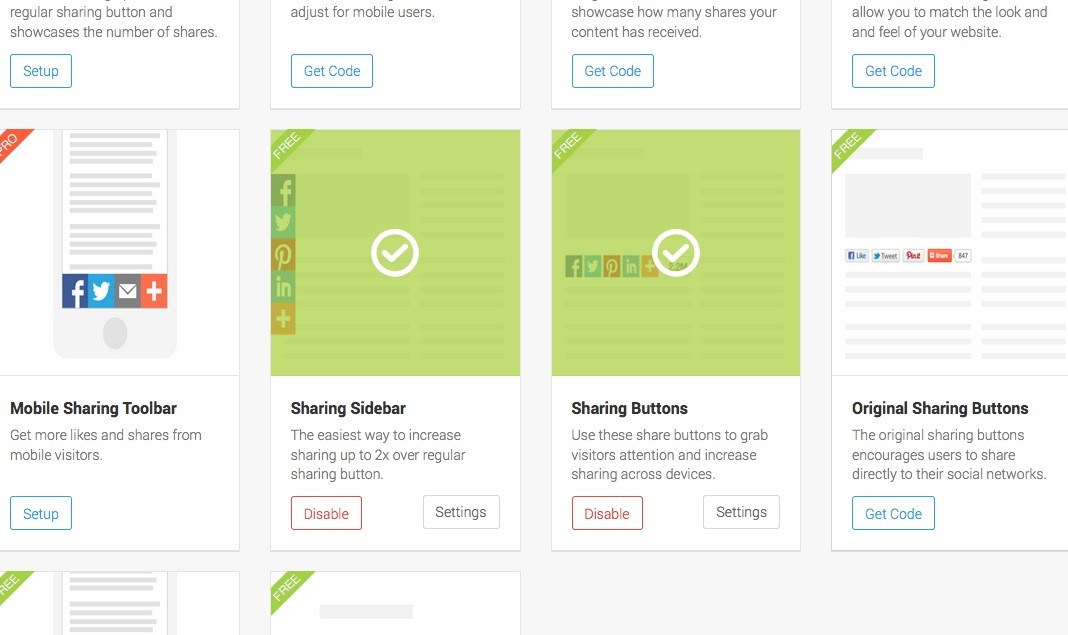 addthis.com aktivierte Buttons