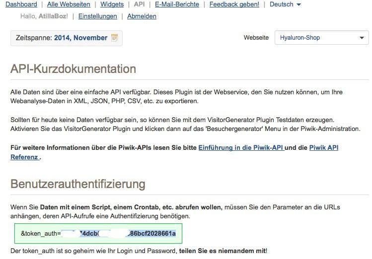 WP-Piwik Plugin Konfiguration - AuthID