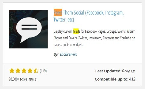 Wordpress - Facebook Stream Plugin Feed Them Social