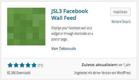 Wordpress - Facebook Stream Plugin - JSL3 Facebook Wall Feed