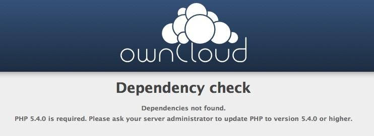 owncloud installieren - PHP Version