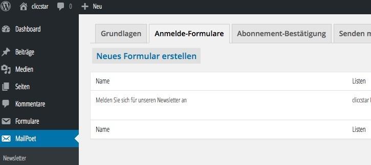 MailPoet Newsletter WordPress - Einstellungen - Forlumare