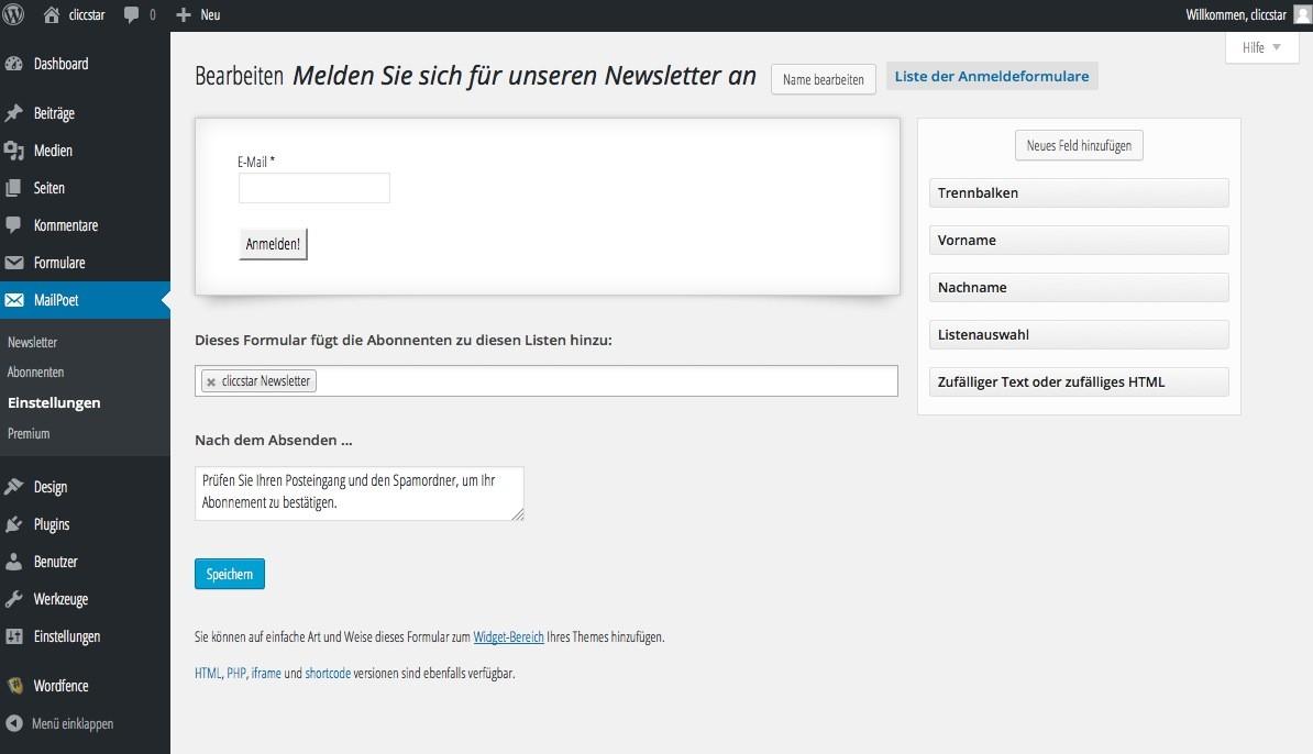 MailPoet Newsletter WordPress - Einstellungen - Formulareinstellungen