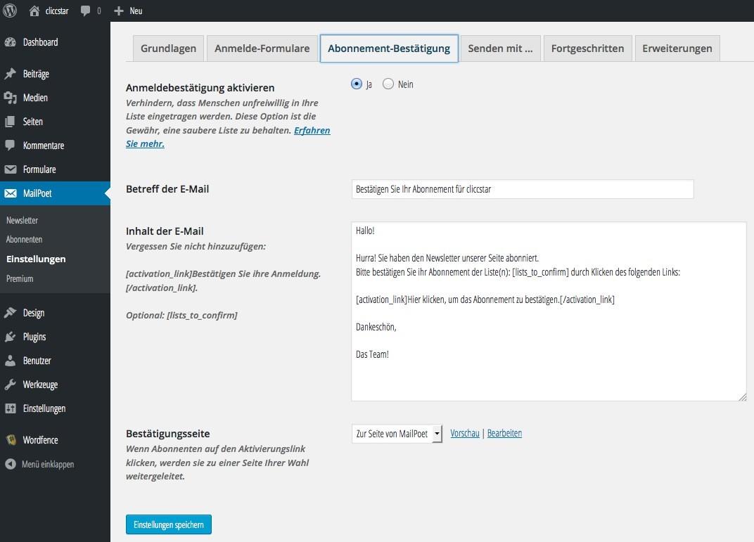 Wordpress Newsletter Plugin MailPoet - E-Mail Bestätigung anpassen