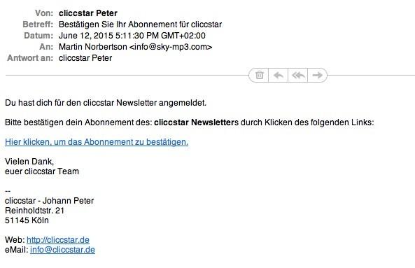 Wordpress Newsletter Plugin MailPoet - E-Mail Bestätigungsansicht