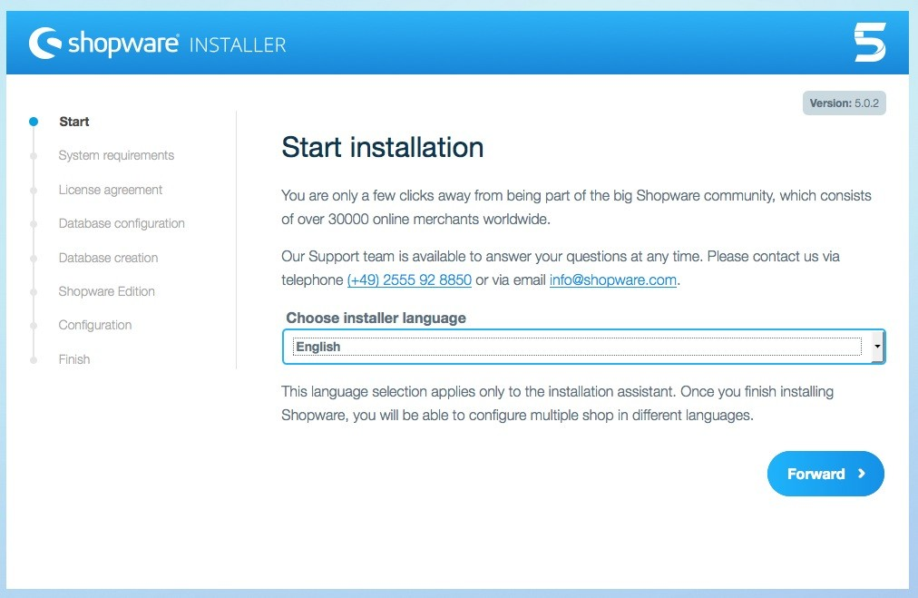 Shopware 5 Installation - Tutorial - Installationssprache