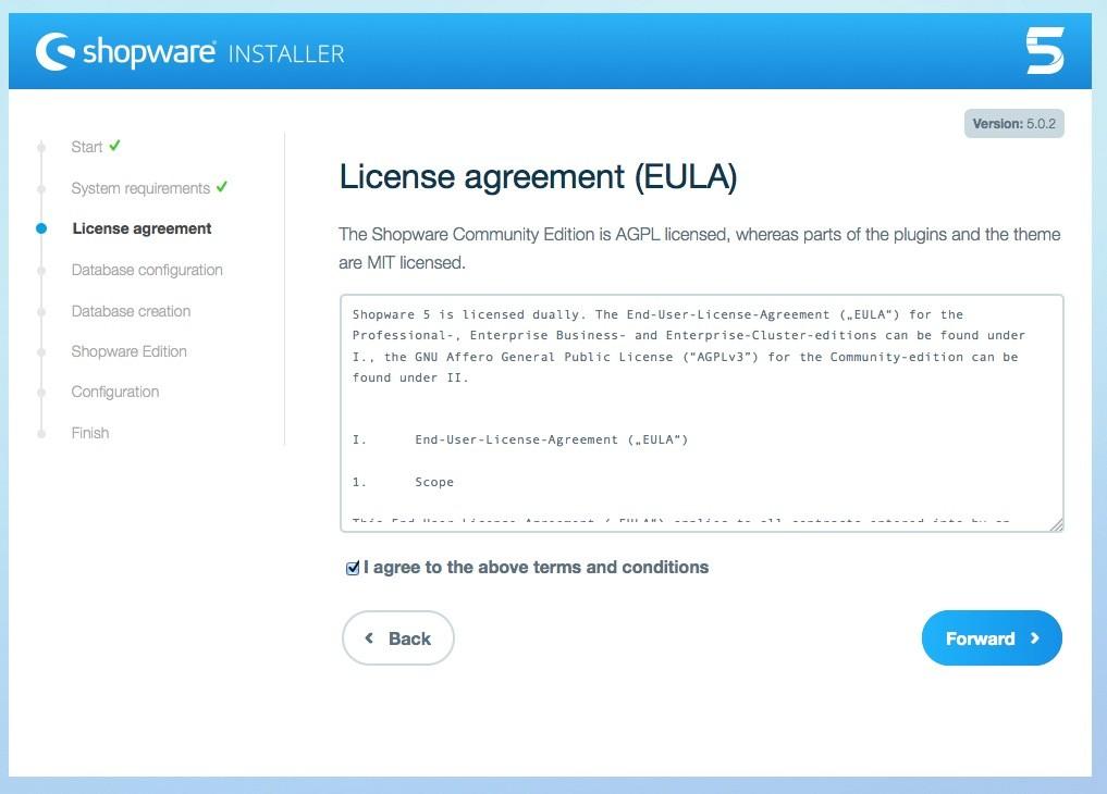 Shopware 5 Installation - Tutorial - Lizenz