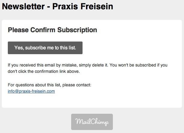MailChimp - E-Mail Bestätigung