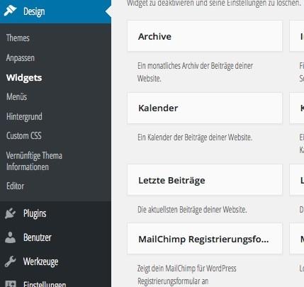 MailChimp Widget einbinden