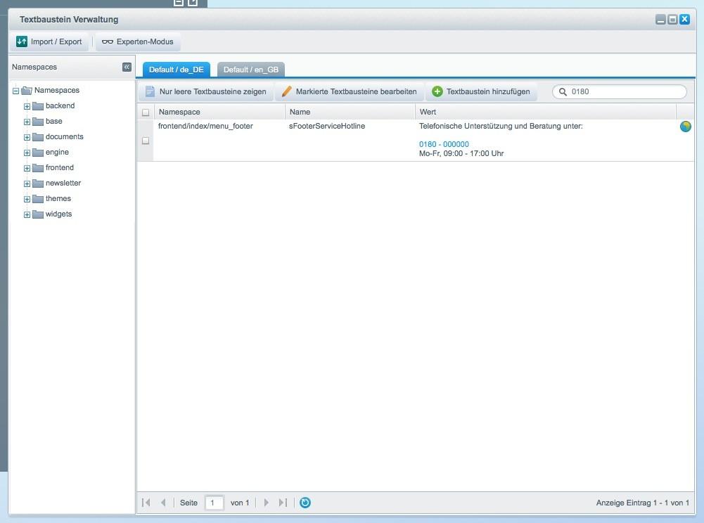 Shopware 5 Konfiguration - Servicenummer anpassen