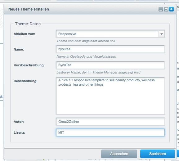 Shopware 5 Konfiguration - Theme erstellen - Details
