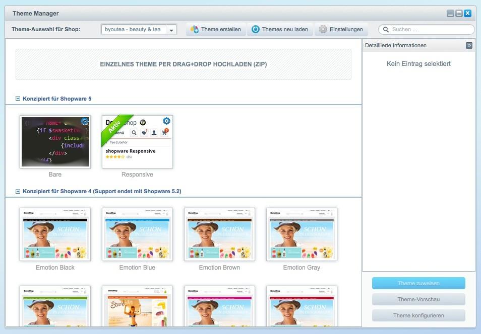 Shopware 5 Konfiguration - Theme erstellen