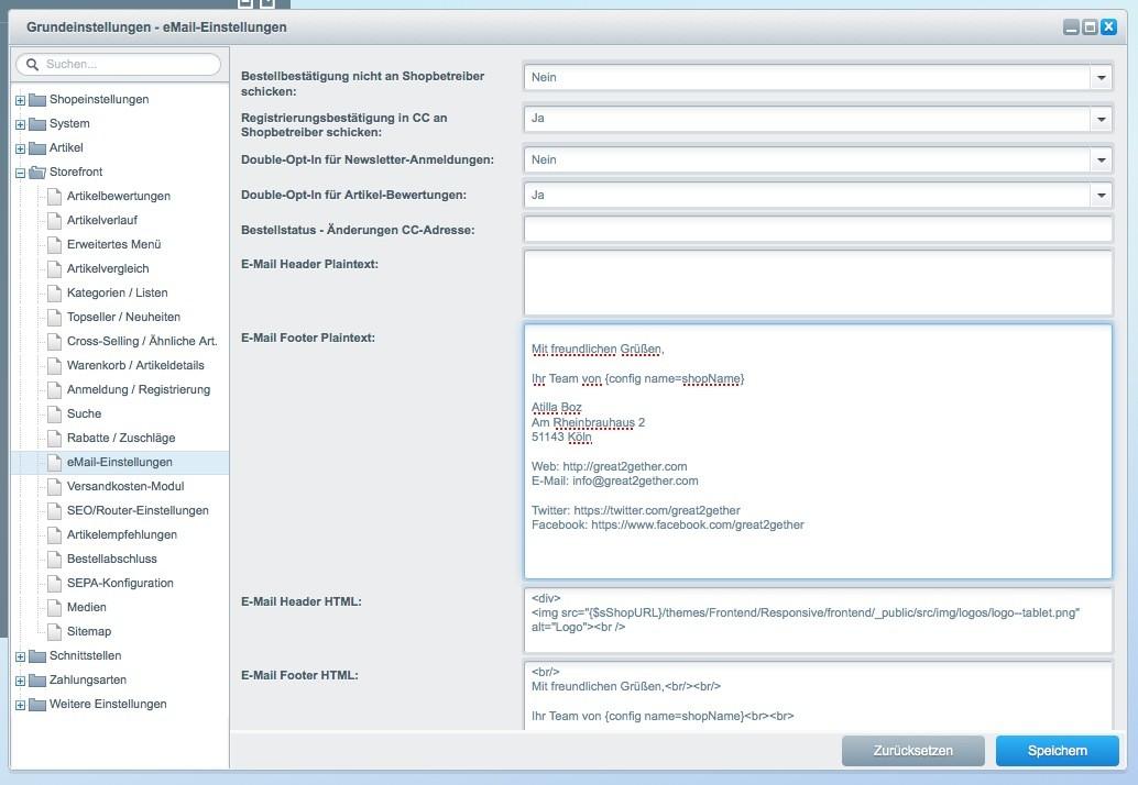 Shopware 5 - Einstellungen - E-Mail Einstellungen