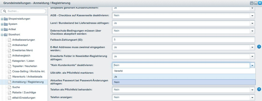Shopware 5 - Einstellungen - Registrierung erzwingen